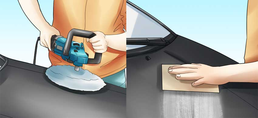 sanding the car