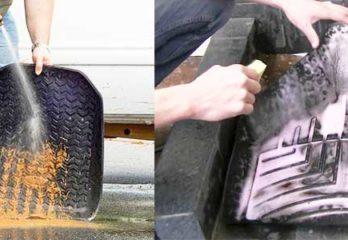 cleaning car floor mat
