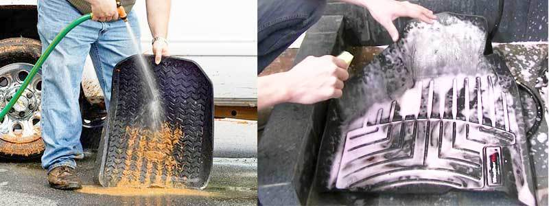 cleaning car floor mat